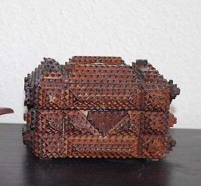 Rare Chip Carved Tramp Folk Art Sewing Chest Box Black Forest Gothic Extravagant