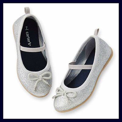 47ed1a4bfe3 New Carter s Kate-C Silver Glitter Bow Ballet Flats Girl Shoes 6 7 9 10