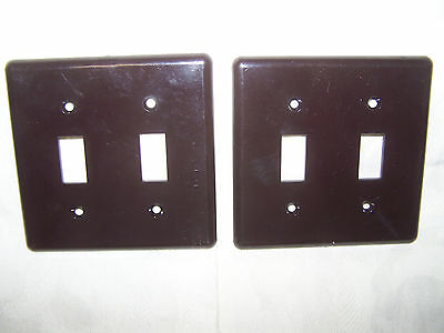Two Vintage Smooth Brown Bakelite Double Switch Plates