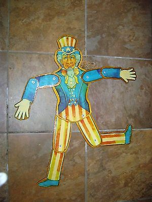 VINTAGE. 36 inch UNCLE SAM ARTICULATED FIGURE all wood poseable RARE