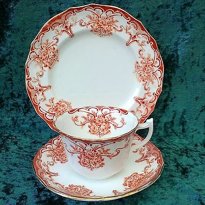 Vintage Antique Tuscan China Rare Milan Tea Trio Cup Saucer Plate 1900s Red Gold