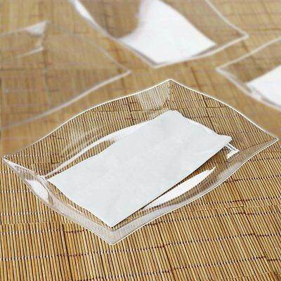 "10/pk  Clear 8"" x 11.5"" Rectangle Wave Disposable Plastic Plate  Cater"