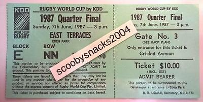 1987 Rugby World Cup Ticket - Game 27 QF3 - Fiji v France - Green Ticket