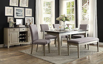LINDO - 6pcs Modern Marble Top Rectangular Dining Room Table Bench Chairs Set