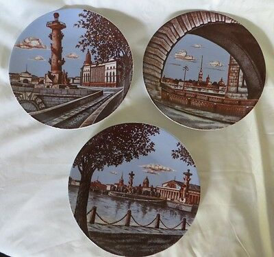 Imperial Porcelain 1744 St. Petersburg Russia Plates Set of 3