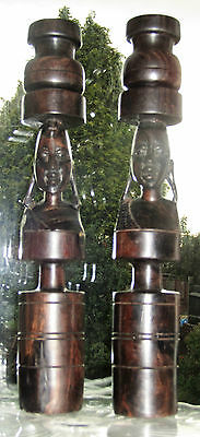Pair Of Hand Carved Vintage Wood African Tribal Art Tribesman Candlesticks