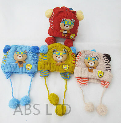 Beautiful Cartoon Character Boys Girls Kids  Wool Knitted Winter Warm Hats Caps