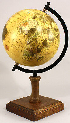 Antique Vintage Style Large Ornamental Globe World Map Spinning on Wood Base