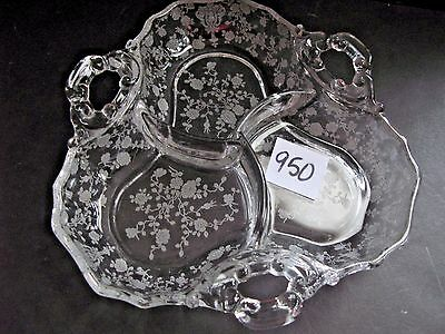 Cambridge Glass Rose Point 3 part, 3 Handle Relish Dish 7 3/4 x 7 3/4 inches