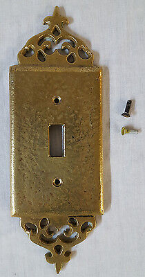 Vintage 1930-1940s Solid Heavy Cast Brass Gothic Single Switch Plate Cover