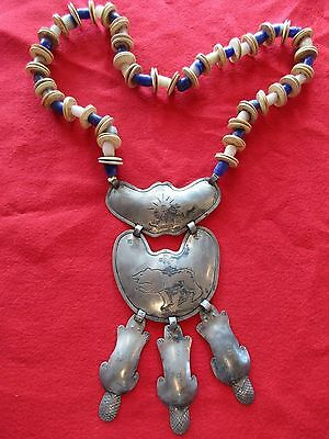 "Hudson Bay ""beaver"" Huge Gorget On Unique Venetian Trade Bead Necklace  Co-00721"