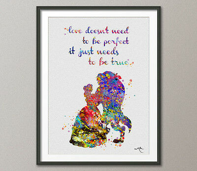 Beauty and the Beast Quote Belle Disney Princess Watercolor Nursery Art Wedding