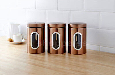Set Of 3 Copper Tea Coffee Sugar Kitchen Storage Canisters Round Jars Accessorie