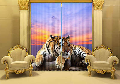Lying Wild Tiger 3D Customize Blockout Photo Curtains Print Home Window Decor