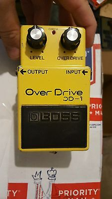 1978 BOSS OD-1 OVERDRIVE PEDAL 14 pin RARE clean mij black label FREE USA s&h
