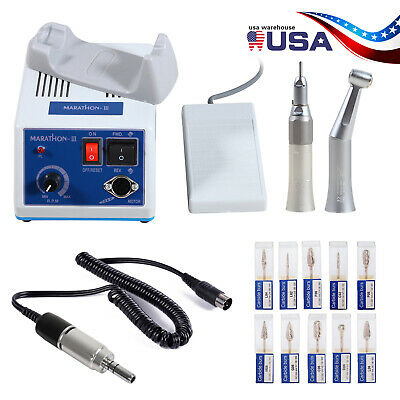 Dental Lab MARATHON Handpiece 35K Rpm Electric Micromotor polishing +10 Burs USA