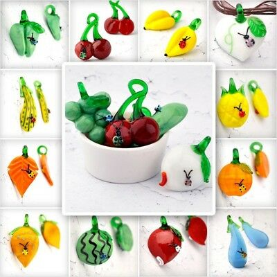 5pcs Fruit Vegetable Leaf Lampwork Glass Charms Pendant For Bracelet  21 Type