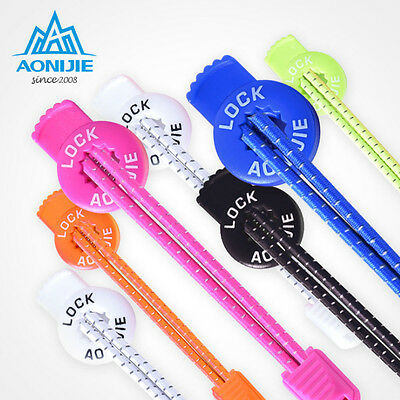 US 1 Pair Lock Laces Elastic Shoelace Shoe String Fastening System Never Tie