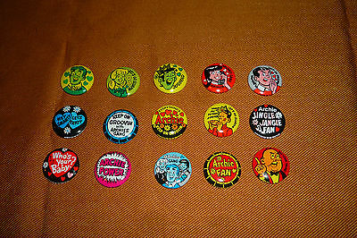 """RARE Vintage 1970 ARCHIE Fan Club Tin Litho 1"""" Pinback Button Collection of 15"""