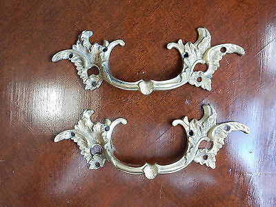 Antique Large French Bronze Louis Xiv Ornate Cabinet Drawer Pull Handles