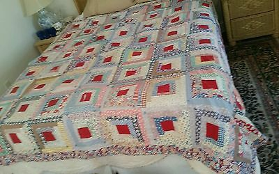 Antique 1920 Pennsylvania Patchwork Hand Stiched Log Cabin Quilt Bed Cover Calic