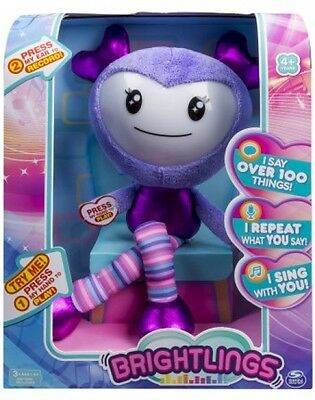 Brightlings, Interactive Singing, Talking 15 Plush, Purple, By Spin Master