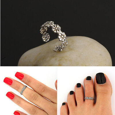Elegant Flower Adjustable 925 Silver Plated Toe Ring Foot Jewelry Beach BD
