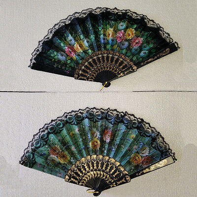 Vintage Folding Spanish Flower Floral Fabric Lace Dancing Party Hand Fan