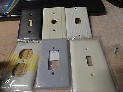 lot of 6 vintage mid century modern light switch plates push button & more