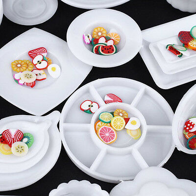 33pcs Dollhouse Mini Plastic Plate Cups Dishes Plate Tableware Miniatures Toys