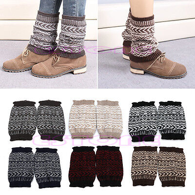 Women Crochet Knitted Cover Boot Knee Socks Jacquard Leg Warmers Cuffs Toppers