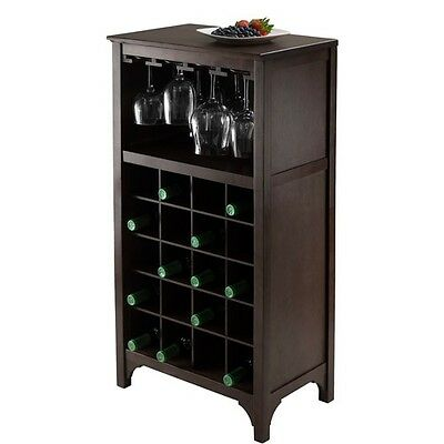 Winsome Trading 92729 Ancona Modular Wine Cabinet with Glass Rack & 20-Bottle. B