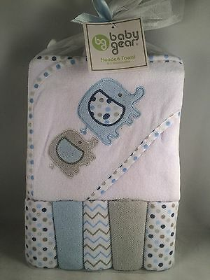 Baby Gear Hooded Towel & 5 Washcloth Gift Set Boys Blue Shower Elephant Chevron