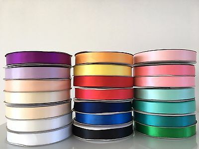 Satin Ribbon Double Faced Side 16mm 25mm Assorted Colour Hair Craft Gift Wedding