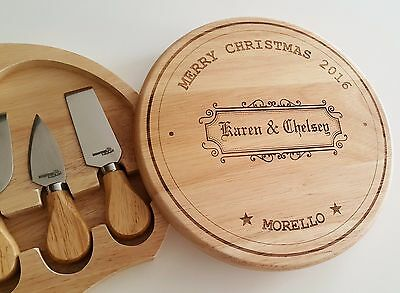 Personalised cutting wooden Cheese board set for Birthday Christmas Family Gift