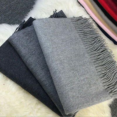 New Women's Winter Cashmere Blend Pashmina Solid Tassel Shawl Wrap Scarf Scarves