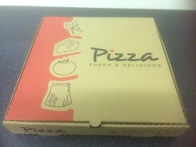 """200 x  9"""" Brown Pizza Box FAST FOOD KEBAB TAKEAWAY CATERING HOT BOXES (0411x2)"""