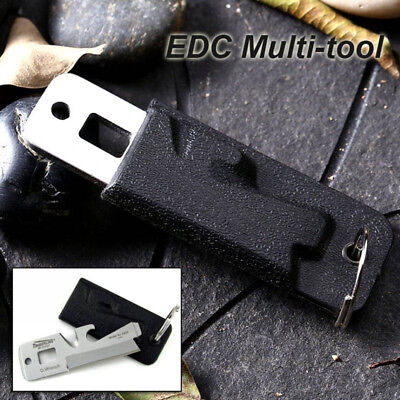 5 IN1 EDC Pocket Survival Multi Tool Bottle Opener Screwdriver Cutter w/ Keyring