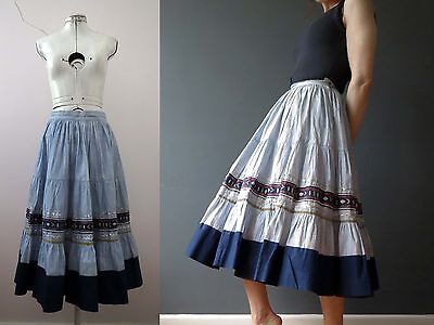 Vintage 70 Southwestern Blue Cotton Swing Skirt  Small Buy 3+ items free Post