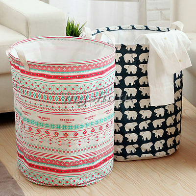 Waterproof Foldable Cotton Linen Washing Clothes Laundry Basket Storage Box Bag