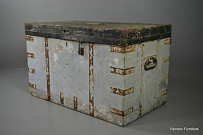 Large Antique Naval Travelling Trunk Rough Luxe