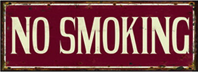 "Targa decoro in latta stile Vintage ""NO SMOKING"""