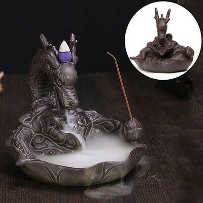 Ceramic Fish Dragon Smoke Backflow Tower Incense Holder ''Dragon Flower Pond''