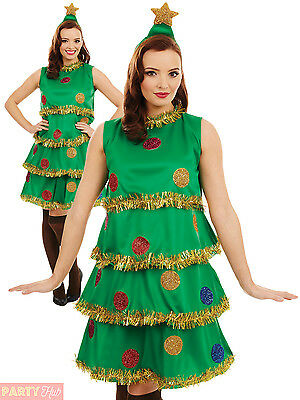 Ladies Christmas Tree Lady Costume Adult Fun Xmas Party Fancy Dress Womens