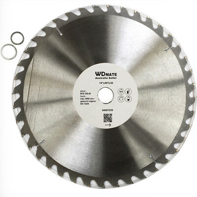"2x Wood Cutting Circular Saw Blade 350mm 40T TCT 14"" Cross 30mm Timber 94007039"