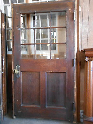 "42"" Oak Nine Beveled Panes Two Panel Door Brass Hardware Architectural Salvage"