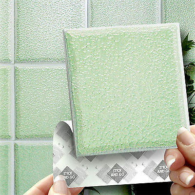 18 Stick & Go Pale Jade Green Stick On Wall Tiles For Kitchens or Bathrooms