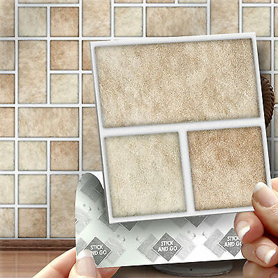 18 Stick & Go Tri Stone Style Bathroom Wall Tiles Stickers Transfers
