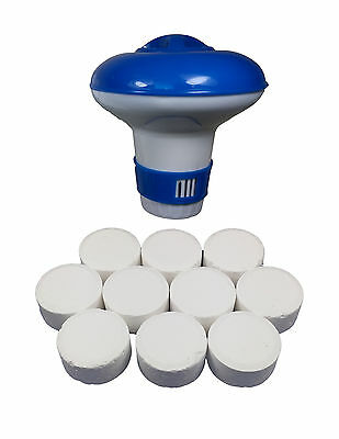 Chlorine Bromine Floating Dispenser with 10 x 20g Tablets for Hot Tub Spa