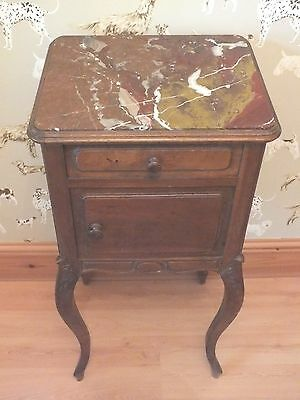 French antique solid wood bedside table